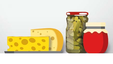 Illustration: Käse, Essiggurken und Marmelade