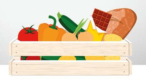 Illustration: Gemüse, Brot und Schokolade