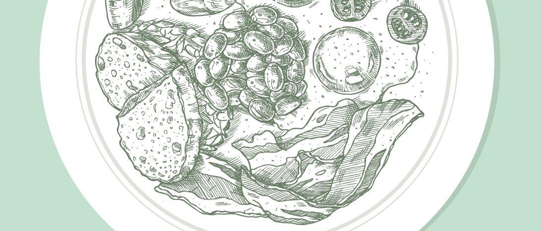 Ein illustrierter Teller mit verschiedenen Nahrungsmitteln