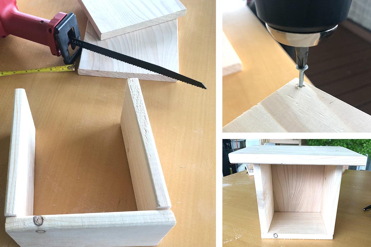 Holz und Werkzeuge für ein Insektenhotel
