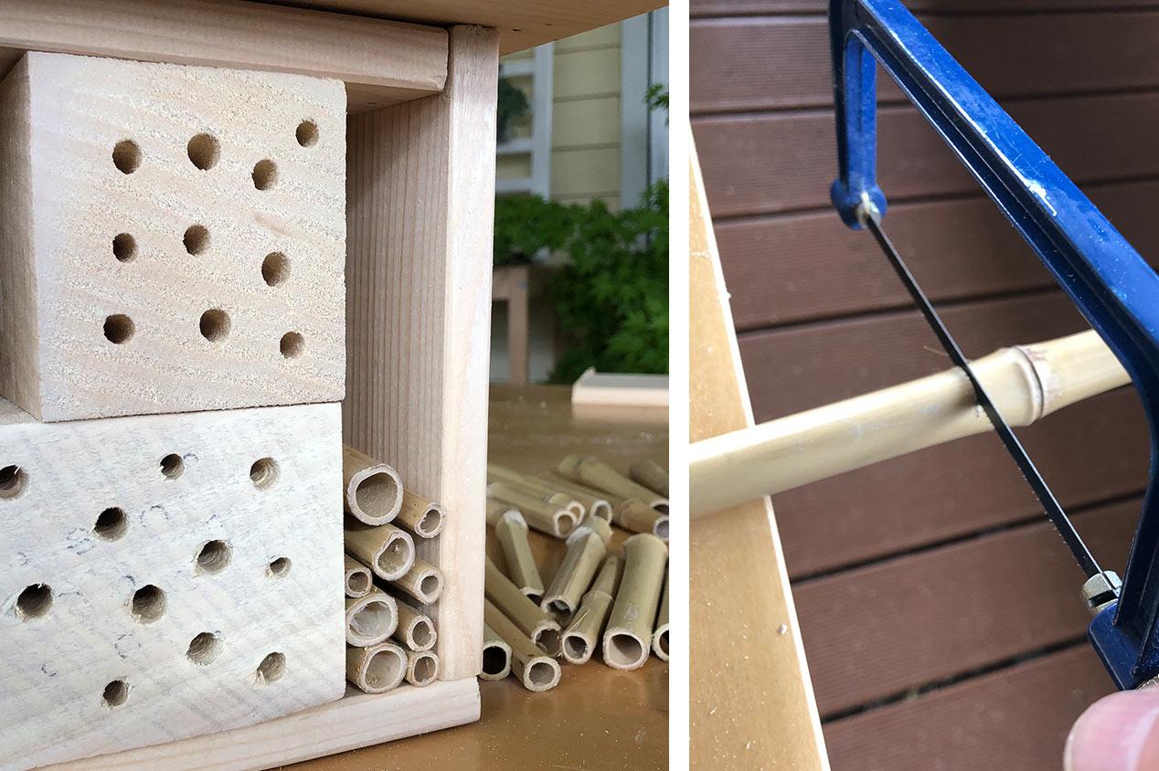 Ein Insektenhotel im Bau